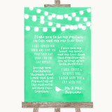 Mint Green Watercolour Lights Romantic Vows Customised Wedding Sign