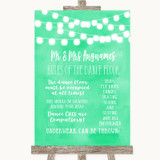 Mint Green Watercolour Lights Rules Of The Dance Floor Customised Wedding Sign
