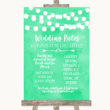 Mint Green Watercolour Lights Rules Of The Wedding Customised Wedding Sign