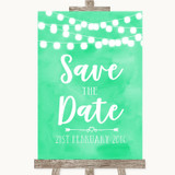 Mint Green Watercolour Lights Save The Date Customised Wedding Sign