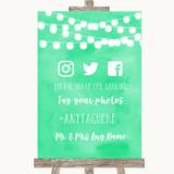 Mint Green Watercolour Lights Social Media Hashtag Photos Wedding Sign