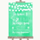 Mint Green Watercolour Lights Wedding Blanket Scarf Customised Wedding Sign