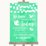 Mint Green Watercolour Lights Loved Ones In Heaven Customised Wedding Sign