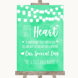 Mint Green Watercolour Lights Sign a Heart Customised Wedding Sign