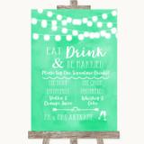 Mint Green Watercolour Lights Signature Favourite Drinks Wedding Sign