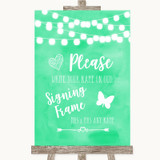 Mint Green Watercolour Lights Signing Frame Guestbook Customised Wedding Sign