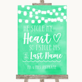Mint Green Watercolour Lights Stole Last Name Customised Wedding Sign