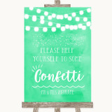 Mint Green Watercolour Lights Take Some Confetti Customised Wedding Sign