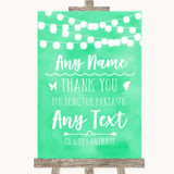 Mint Green Lights Thank You Bridesmaid Page Boy Best Man Wedding Sign