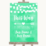 Mint Green Watercolour Lights This Way Arrow Left Customised Wedding Sign