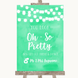 Mint Green Watercolour Lights Toilet Get Out & Dance Customised Wedding Sign