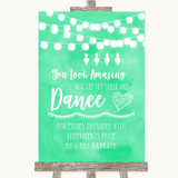 Mint Green Watercolour Lights Toiletries Comfort Basket Wedding Sign