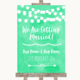 Mint Green Watercolour Lights We Are Getting Married Customised Wedding Sign
