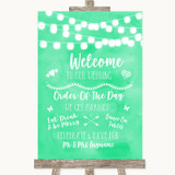 Mint Green Watercolour Lights Welcome Order Of The Day Customised Wedding Sign