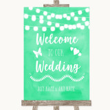 Mint Green Watercolour Lights Welcome To Our Wedding Customised Wedding Sign
