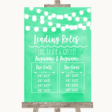 Mint Green Watercolour Lights Who's Who Leading Roles Customised Wedding Sign