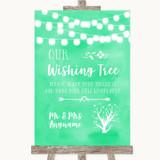 Mint Green Watercolour Lights Wishing Tree Customised Wedding Sign