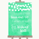 Mint Green Watercolour Lights Wishing Well Message Customised Wedding Sign