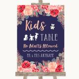 Navy Blue Blush Rose Gold Kids Table Customised Wedding Sign