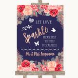 Navy Blue Blush Rose Gold Let Love Sparkle Sparkler Send Off Wedding Sign