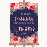 Navy Blue Blush Rose Gold Blow Bubbles Customised Wedding Sign