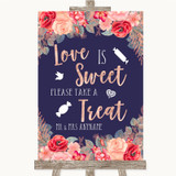 Navy Blue Blush Rose Gold Love Is Sweet Take A Treat Candy Buffet Wedding Sign