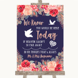 Navy Blue Blush Rose Gold Loved Ones In Heaven Customised Wedding Sign