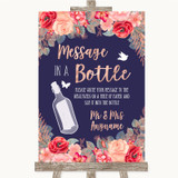 Navy Blue Blush Rose Gold Message In A Bottle Customised Wedding Sign