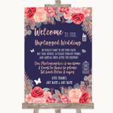 Navy Blue Blush Rose Gold No Phone Camera Unplugged Customised Wedding Sign