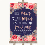 Navy Blue Blush Rose Gold Petals Wishes Confetti Customised Wedding Sign