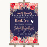 Navy Blue Blush Rose Gold Photo Guestbook Friends & Family Wedding Sign