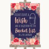 Navy Blue Blush Rose Gold Bucket List Customised Wedding Sign