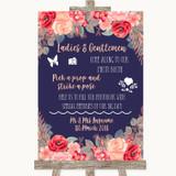 Navy Blue Blush Rose Gold Pick A Prop Photobooth Customised Wedding Sign