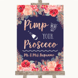 Navy Blue Blush Rose Gold Pimp Your Prosecco Customised Wedding Sign