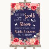 Navy Blue Blush Rose Gold Plant Seeds Favours Customised Wedding Sign