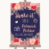 Navy Blue Blush Rose Gold Polaroid Picture Customised Wedding Sign