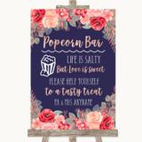 Navy Blue Blush Rose Gold Popcorn Bar Customised Wedding Sign