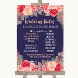 Navy Blue Blush Rose Gold Rules Of The Wedding Customised Wedding Sign