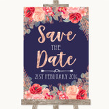 Navy Blue Blush Rose Gold Save The Date Customised Wedding Sign