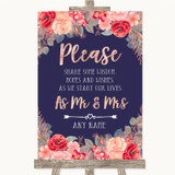 Navy Blue Blush Rose Gold Share Your Wishes Customised Wedding Sign