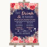 Navy Blue Blush Rose Gold Signature Favourite Drinks Customised Wedding Sign