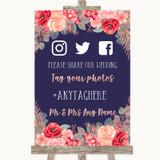 Navy Blue Blush Rose Gold Social Media Hashtag Photos Customised Wedding Sign
