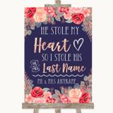 Navy Blue Blush Rose Gold Stole Last Name Customised Wedding Sign