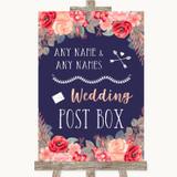 Navy Blue Blush Rose Gold Card Post Box Customised Wedding Sign