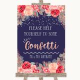 Navy Blue Blush Rose Gold Take Some Confetti Customised Wedding Sign