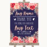 Navy Blue Blush Rose Gold Thank You Bridesmaid Page Boy Best Man Wedding Sign
