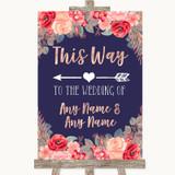 Navy Blue Blush Rose Gold This Way Arrow Left Customised Wedding Sign