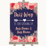 Navy Blue Blush Rose Gold This Way Arrow Right Customised Wedding Sign
