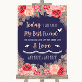 Navy Blue Blush Rose Gold Today I Marry My Best Friend Customised Wedding Sign