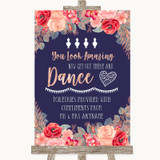 Navy Blue Blush Rose Gold Toiletries Comfort Basket Customised Wedding Sign